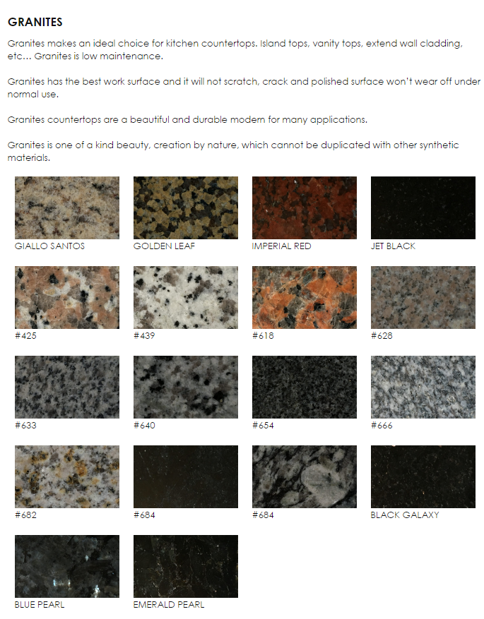 Granite 1 Services & Rates